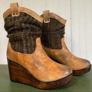 Bed Stu BRUGES Sweater-Topped Leather Boots - Cobbler Series